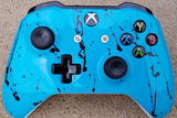 Custom Painted Xbox One S Controller - Sea Green Black Splatter - Game and Video