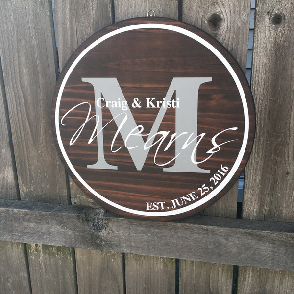 Custom Circle Established Sign