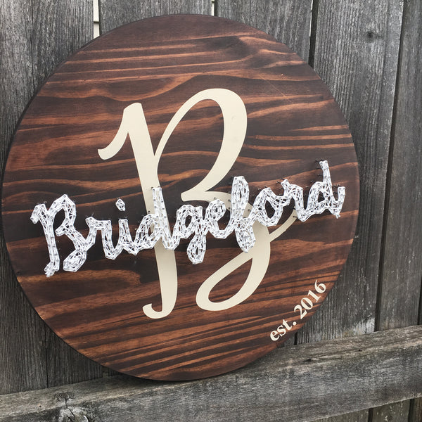 Custom Circle Established Sign String Art