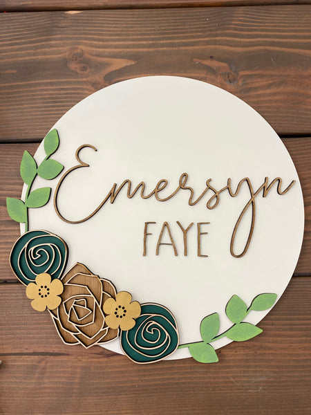 Floral Custom Name Sign 18'' round