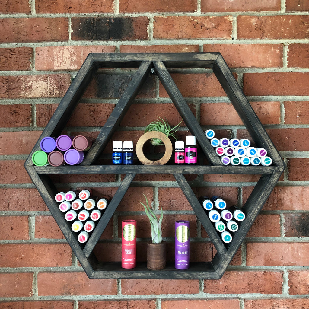 Essential oil hexagon shelf