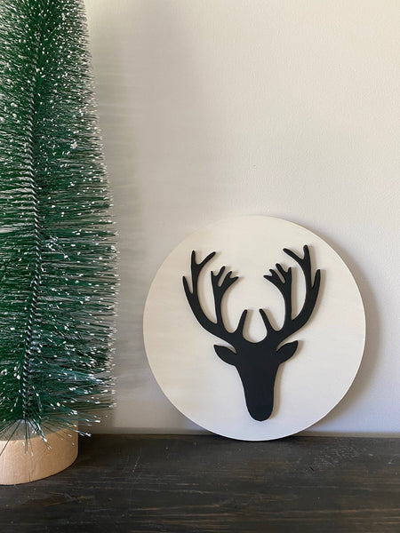 "8"" round white / deer black"