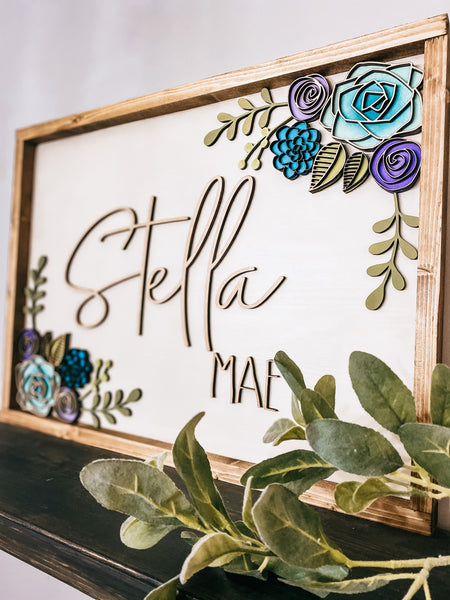 Floral Custom Name Sign