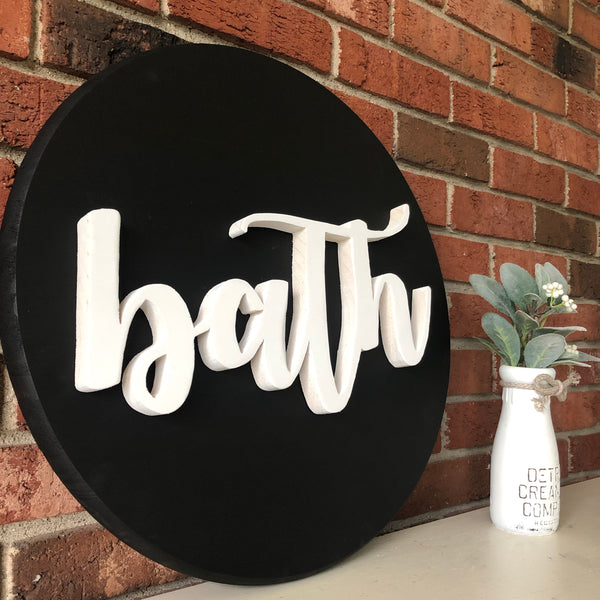 Bath bathroom round sign- hand cut