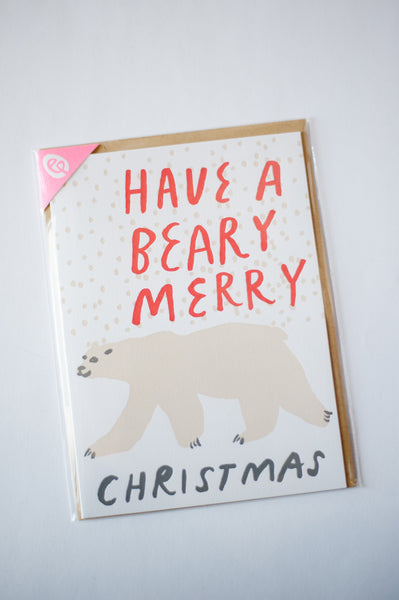 Polar Bear Christmas Letterpress Card