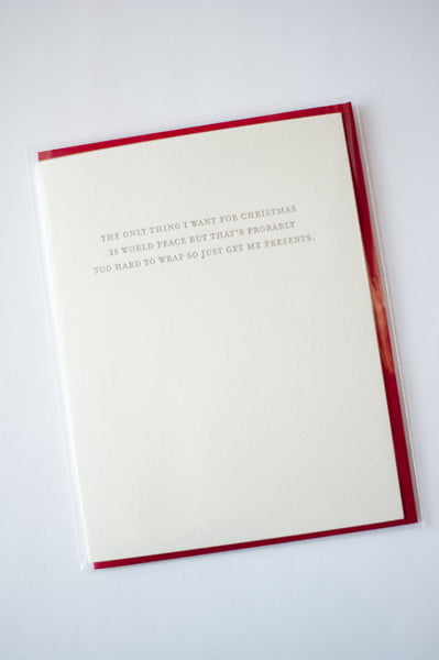 Mild Confessions: World Peace Letterpress Card
