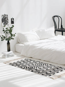 Black White 100% Cotton Geometric Rug - modernbedspace