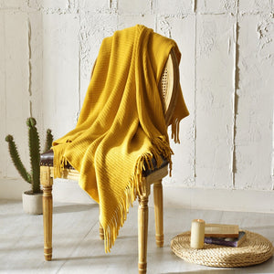 Soft Mustard Throw Blanket - modernbedspace