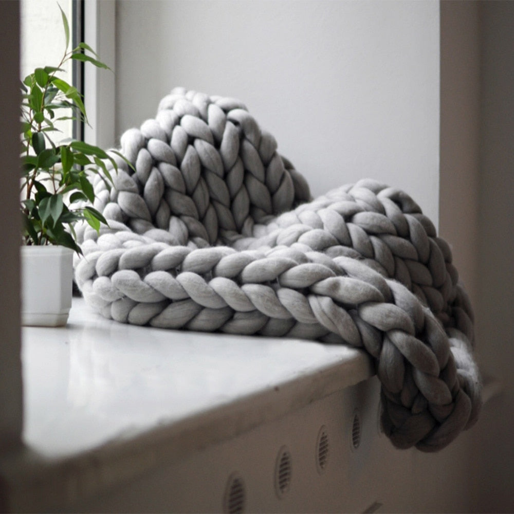 Handmade Knitted Wool Throw - modernbedspace
