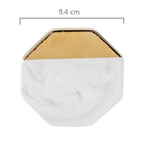 Gold Marble Coasters Ceramic Tea Cup Pad - modernbedspace