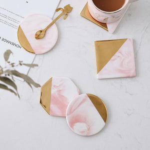 Gold Marble Coasters Ceramic Tea Cup Pad
