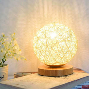 Creative Knit Lampshade Wood Moon Lamp - modernbedspace