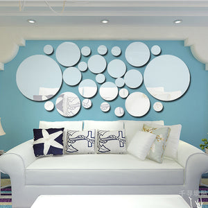 Geometric Circle 3D Stereo Removable Mirror - modernbedspace