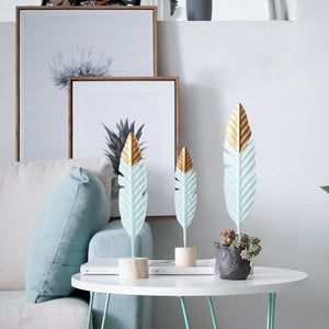 Modern Feather Wooden Decorations