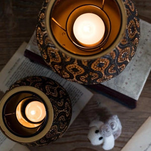 Vintage Iron Hollow Carved Candle Holders - modernbedspace