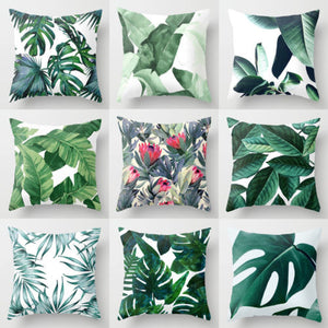 Green Leaves Throw Case Cusion