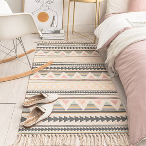 Cotton & Linen Tassel Woven Carpet Rug