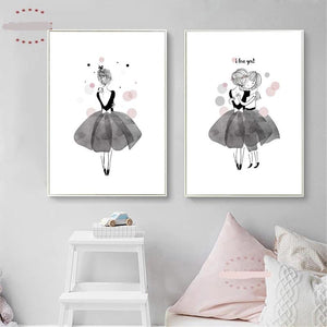 Watercolor Girls Canvas Painting Art - modernbedspace