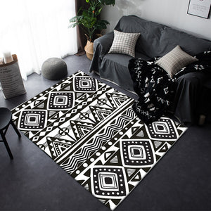 Fashion Modern Black White Geometric Ethnic Folk Style Soft Door Mat Bathroom Parlor Living Room Home Decoration Carpet Area Rug - modernbedspace