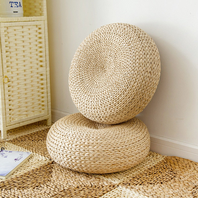 Natural Straw Round Thicken Tatami Cushion - modernbedspace