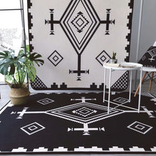 Modern Fashion Brief Black White Geometric Ethnic Style Bathroom Door Mat Parlor Living Room Bedroom Decorative Carpet Area Rug - modernbedspace
