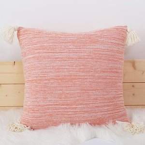 Soft Knit Cushion Cover With Tassles - modernbedspace