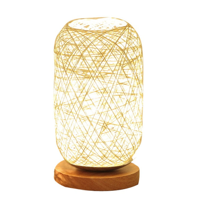Hand Knit Wood Rattan Twine Table Lamps - modernbedspace