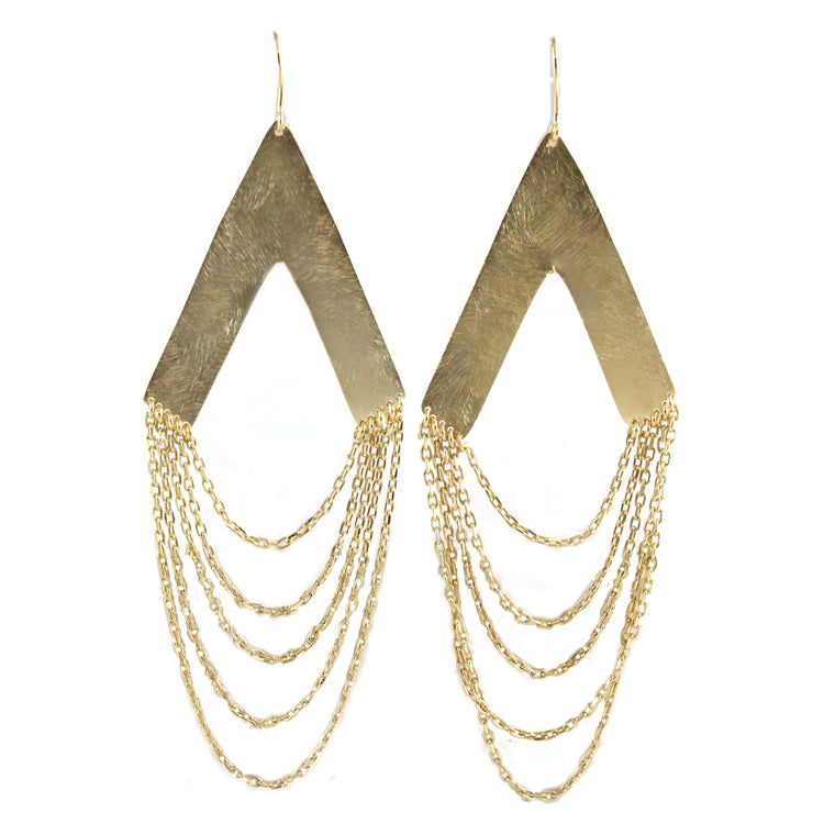 Gold Collection Fringe Drape Chain Earrings