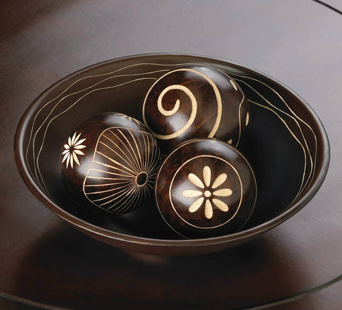 Carved Decorative Ball Set with Bowl - Brown