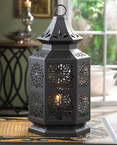 Black Moroccan Electric Table Lamp - 16 inches