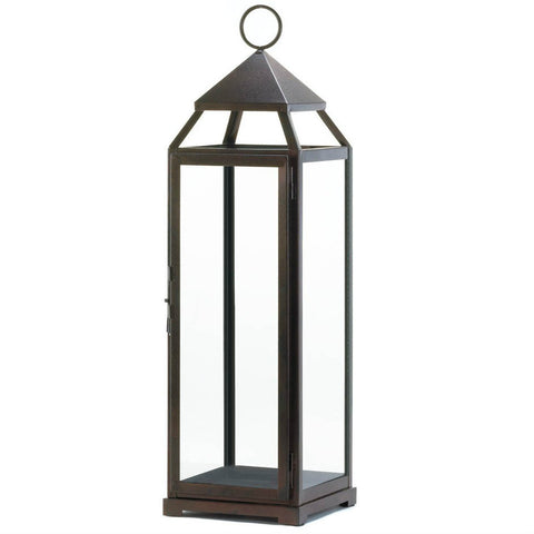 Tall Bronze Modern Candle Lantern - 25 inches