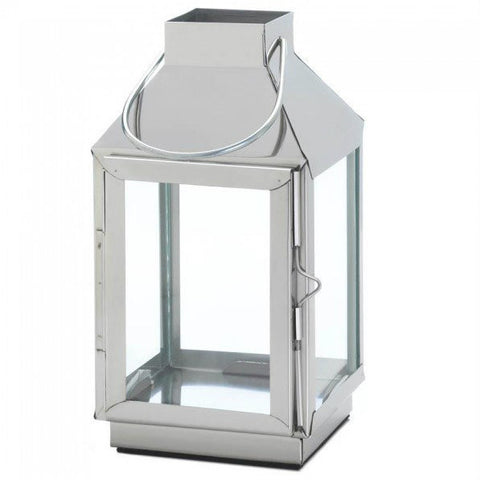 Modern Steel Candle Lantern - 8 inches