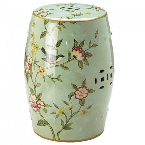 Floral Ceramic Decorative Stool or Side Table