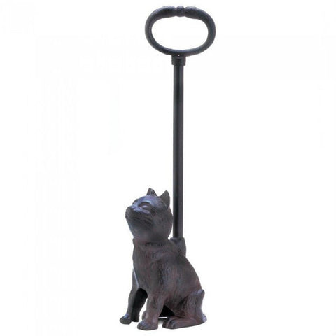 Cast Iron Cat Door Stopper with Handle