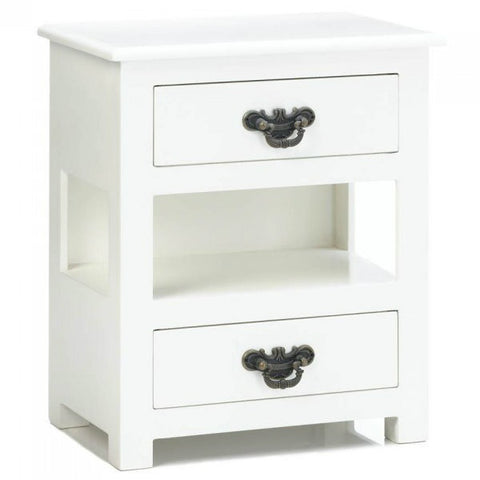 Two-Drawer White Mini Table