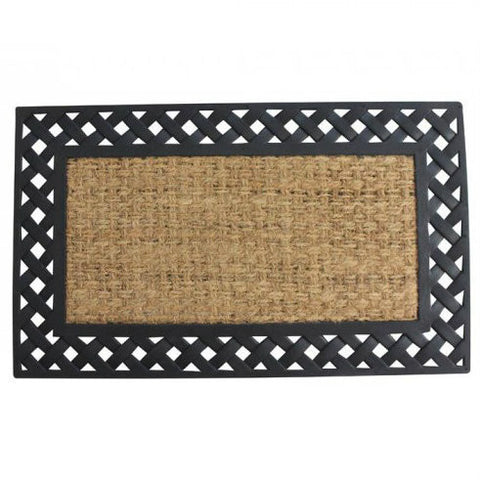 Basket Weave Lattice Border Welcome Mat