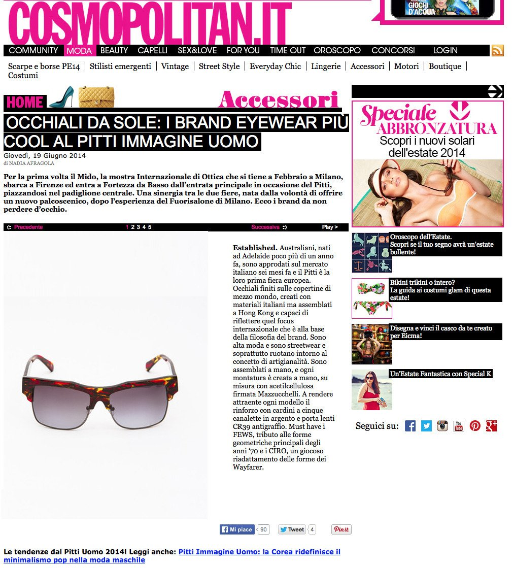 "COSMOPOLITAN ITALY FEATURE TUTOR ""PITTI PICKS"""