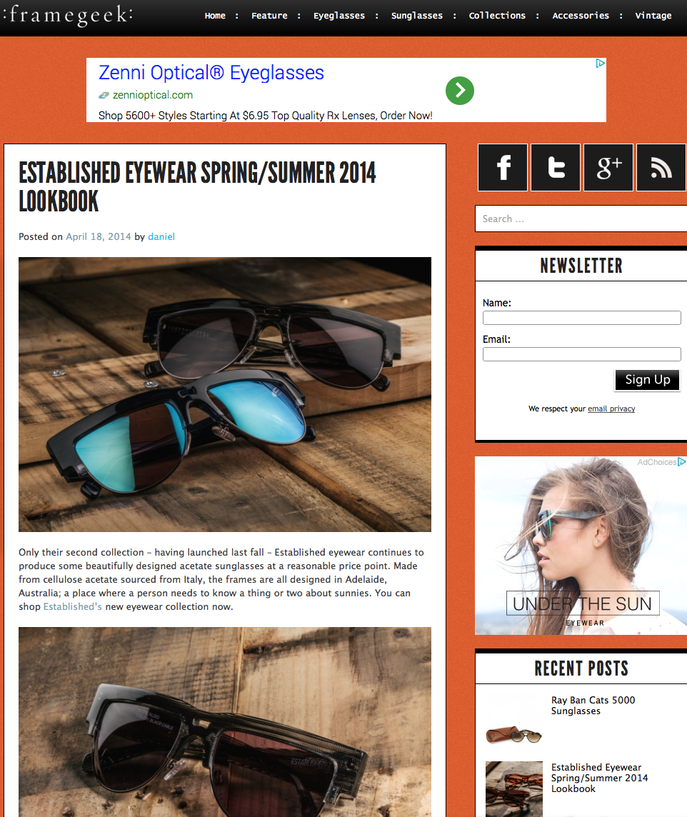 ESTABLISHED EYEWEAR S/S2014 FRAMEGEEK Feature April 18th