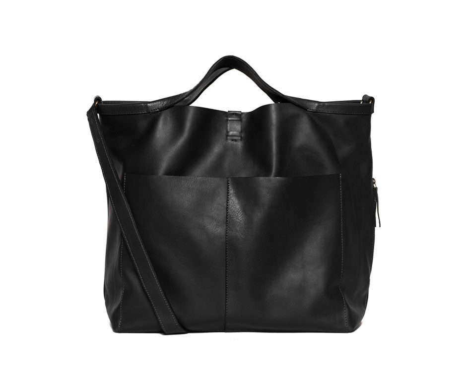 JET BLACK SHOPPER TOTE