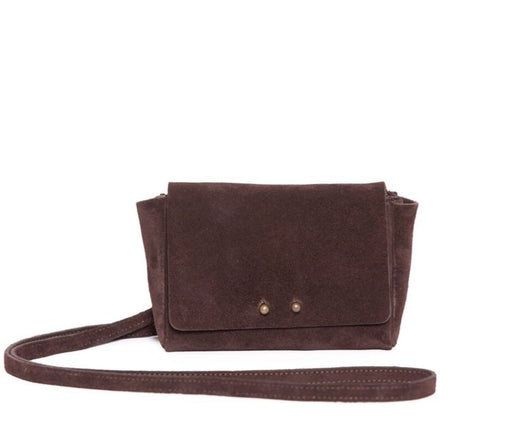 CHOCOLATE SUEDE WALLET W/STRAP