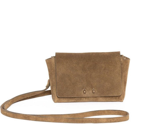DARK GOLD SUEDE WALLET W/STRAP