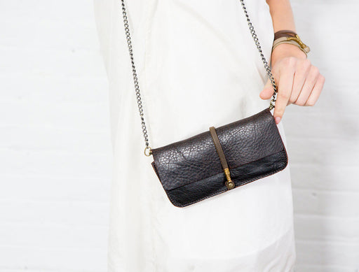 ESPRESSO BLACK WIRE CLUTCH W/ CHAIN