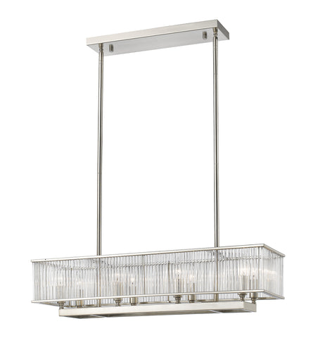 Z-Lite 1000-32BN Zalo 8 Light Pendant with Brushed Nickel Steel Frame