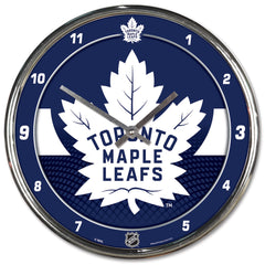 Toronto Maple Leafs Clock Round Wall Style Chrome - Wincraft