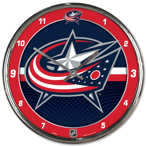 Columbus Blue Jackets Clock Round Wall Style Chrome - Wincraft