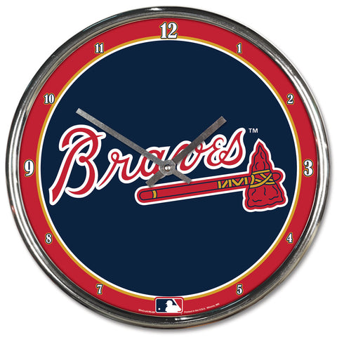 Atlanta Braves Clock Round Wall Style Chrome - Wincraft