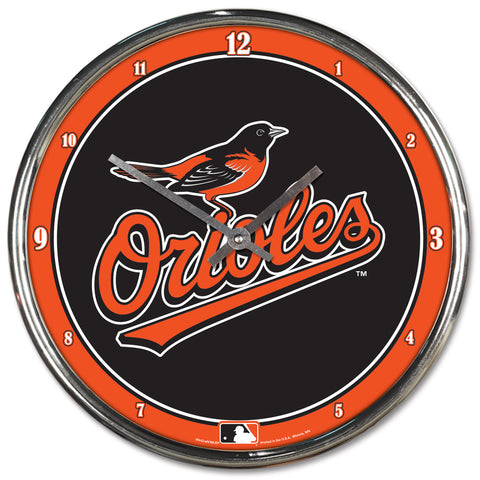 Baltimore Orioles Clock Round Wall Style Chrome - Wincraft