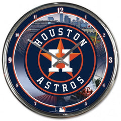 Houston Astros Clock Round Wall Style Chrome - Wincraft, Inc.