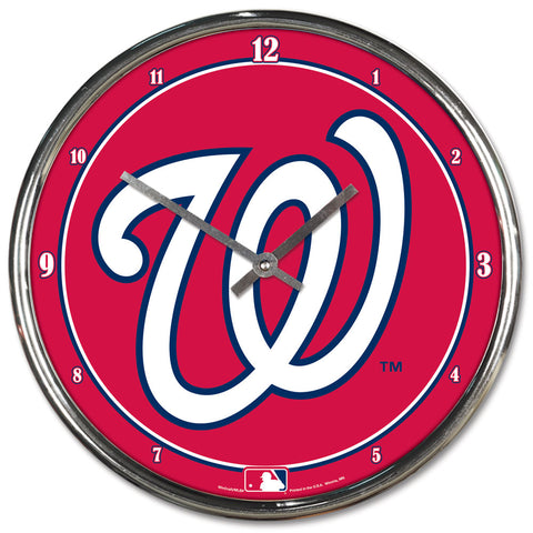 Washington Nationals Clock Round Wall Style Chrome - Wincraft, Inc.