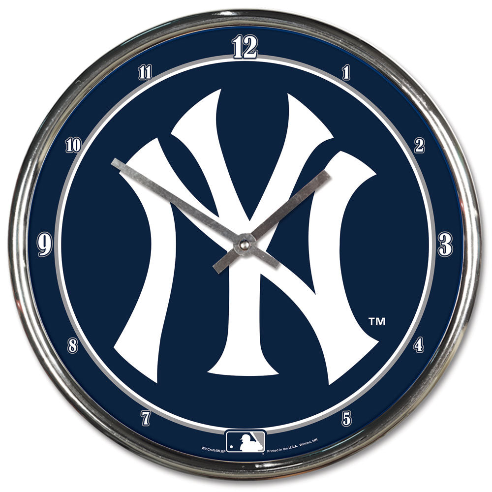 New York Yankees Round Chrome Wall Clock - Wincraft